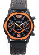 SBAO Mens Two Decorative Subdial Orange Stationary Bezel Analogue Quartz Sports Watches