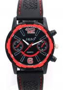 SBAO Mens Boys Gentlemen Male Fashion Two Decorative Subdial Red Bezel Quartz Sports Watches