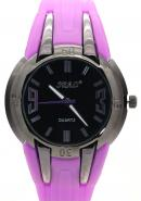 SBAO Unisex Rubber Strap Fashion Leisure Sports Quartz Analog Watches Black Dial Magenta Silicone
