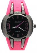 SBAO Unisex Rubber Strap Fashion Leisure Sports Quartz Analog Watches Black Dial Pink Silicone