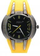 SBAO Mens Luminous Japan Fashion Leisure Sports Quartz Analog Watches Black Dial Yellow Silicone