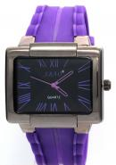 SBAO Mens Women Purple Rubber Strap Rectangle Dial Roman Numerals Analogue Sports Quartz Watches