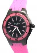 SBAO Unisex Fashion Water Resistance Stainless Steel Case Back Black Quartz Analogue Pink Watches