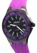 SBAO Unisex DECO Stationary Bezel Stainless Steel Back Water Resistant Quartz Analog Purple Watches