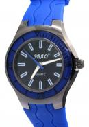 SBAO Unisex Blue Rubber Watchband Stainless Steel Back Round Dial Quartz Analog Watches