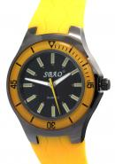 SBAO Unisex Water Resistant Stainless Steel Crown Case Rubber Strap Quartz Analog Yellow Watches
