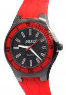 SBAO Unisex Fashion None Waterproof Rubber Watchband Black Round Dial Quartz Analogue Red Watches