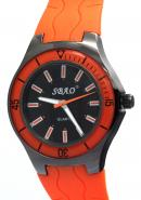 SBAO Unisex Fashion Decorative Bezel Stainless Steel Water Resistant Quartz Analog Orange Watches