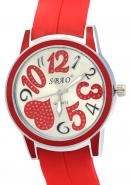 SBAO Unisex Heart Shape Crystal Dial Red Rubber Strap Water Resistant Quartz Watches