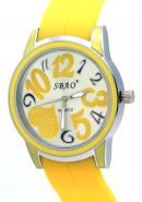 SBAO Unisex Encrusted Heart Printed Dial Wrist Watch Valentine's Day Gift Yellow Watches For Lover