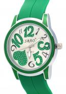 SBAO Unisex Heart Printed Design Green Rubber Strap Stationary Bezel Watches Valentine's Day Gifts