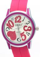 SBAO Unisex Delicate Heart Quartz Analogue Watches Valentine's Day Gift Pink Watch For Lover