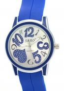SBAO Unisex Blue Heart Printed Dial Rubber Band Quartz Wrist Watches For Valentine's Day Gift
