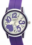 SBAO Unisex Encrusted Heart Printed Dial Watches Valentine's Day Gift Purple Watch For Lover