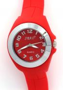 SBAO Womens Red Circle Dial Rubber Watchband Analogue Quartz Watches