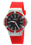 SBAO Woman Female Wrist Watch Round Dial Quartz Hours Analog Rubber Band Red Watches