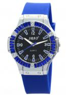 SBAO Women Wrist Watch Round Dial Quartz Hours Analog Rubber Band Blue Watches