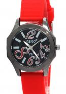 SBAO Womens Female Gilrs Lady Miss Wrist Watch Round Dial Quartz Analogue Red Rubber Watches