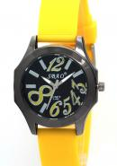 SBAO Womens Black Circle Dial Stainless Steel Case Back Quartz Analog Yellow Rubber Strap Watches