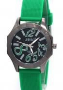 SBAO Ladies Wrist Watch Black Round Dial Quartz Analog Green Rubber Watches