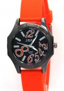 SBAO Womens Lady  Mens Wrist Watch Arabic Number Dial None Waterproof Quartz Analogue Orange Watch