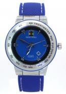 SHAO PENG Mens Calendar Date Blue Rubber Strap Waterproof Stainless Steel Analog Quartz Watches