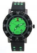 SHAO PENG Mens Date Green Popular Polka Dot Black Rubber Watchband Analogue Quartz Watches