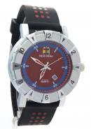 SHAO PENG Mens Date Blue Red Dial Stainless Steel Water Resistant Polka Dot Analog Quartz Watches