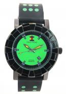 SHAO PENG Mens Date Black Rubber Strap Green Polka Dot Waterproof Analog Quartz Watches
