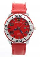 SHAO PENG Mens Red Genuine Leather Strap Stainless Steel Date Buckle Analogue Quartz Watches