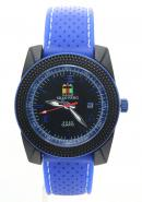 SHAO PENG Mens Fashion Date Blue Rubber Strap Buckle Water Resistant Analogue Quartz Watches