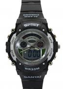 Santai Black Strap Chronograph Alarm Analogue Digital Sport Watches