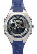 Santai LCD Dial Blue Strap Silver Case Alarm Digital Analogue Watches