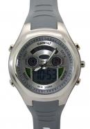 Santai Gray Rubber Strap Dual Time Analogue Digital Waterproof Watches