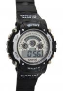 Santai Chronograph WR 30M Alarm Black Rubber Strap Sport Style Watches