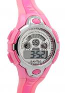 Santai Pink Strap Chronograph Date Display Waterproof Alarm Watches