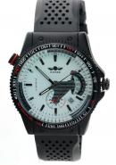 WINNER Mens Boys Sub Dials Calendar Black Rubber Strap White Dial Skeleton Automatic Watches