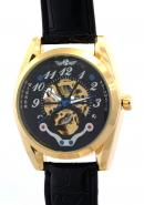 WINNER Male Men Gentlemen Gold Black Dial Mineral Leather band Skeleton Automatic Mechanical Watches