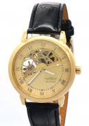 WINNER Mens Male Boys Hand Wind Mechanical Yellow Gold Dial Black Leather Band Skeleton Watches