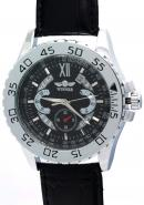 WINNER Men Sub Dials Calendar Date Black Dial Stainless Steel Automatic Skeleton Watches