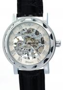 WINNER Mens Male Silver White Dial Roman Numerals Hand Wind Mechanical Skeleton Watches