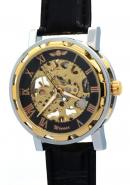 WINNER Gentlemen Male Guys Fashion Manually Winding Mechanical Skeleton Gold Black Watches