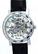 WINNER Mens Fashion Casual Water Resistant Leather Roman numerals Mechanical Skeleton Watches