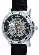 WINNER Men Black Dial Classic Roman Numerals Leather Strap Skeleton Automatic Mechanical Watches