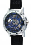WINNER Mens Black Blue Roman Numerals Analogue Skeleton Automatic Mechanical Watches