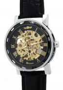 WINNER Mens Classic Gold Roman Numerals Leather Watchband Skeleton Automatic Mechanical Watches