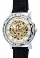 WINNER Mens Luxury Gold Roman Numerals Clock Faces Skeleton Automatic Mechanical Watches