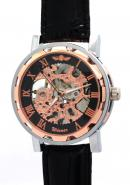 WINNER Mens Black Dial Rose Gold Roman Numerals Classic Bronze Bezel Skeleton Automatic Watches