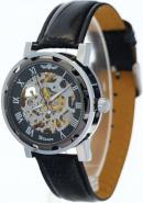 WINNER Gents Casual Black Round Dial Roman Numerals Black Leather Strap Skeleton Automatic Watches