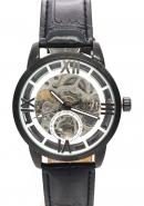 WINNER Unisex Silver Dial Genuine Leather Watchband Skeleton Automatic Mechanical Watches